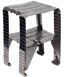 Metal table made from industrial conveyor belt