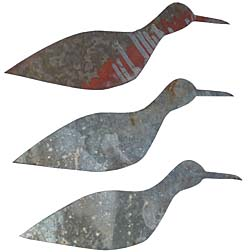 Three metal birds