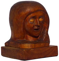 Carving of woman's head