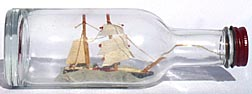 Two masted ship in bottle