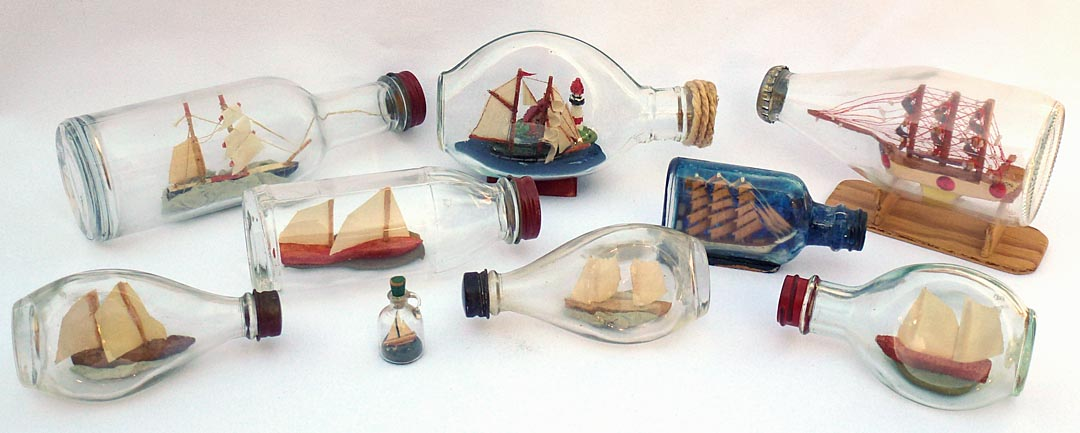 Collection of small ship in bottle whimsies