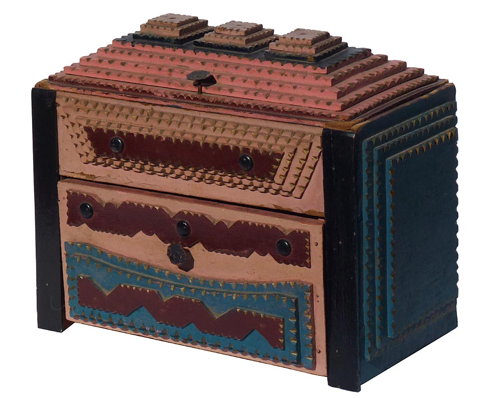'Painted tramp art box' from the web at 'http://www.folkartisans.com/pages/../images12/cats1.jpg'