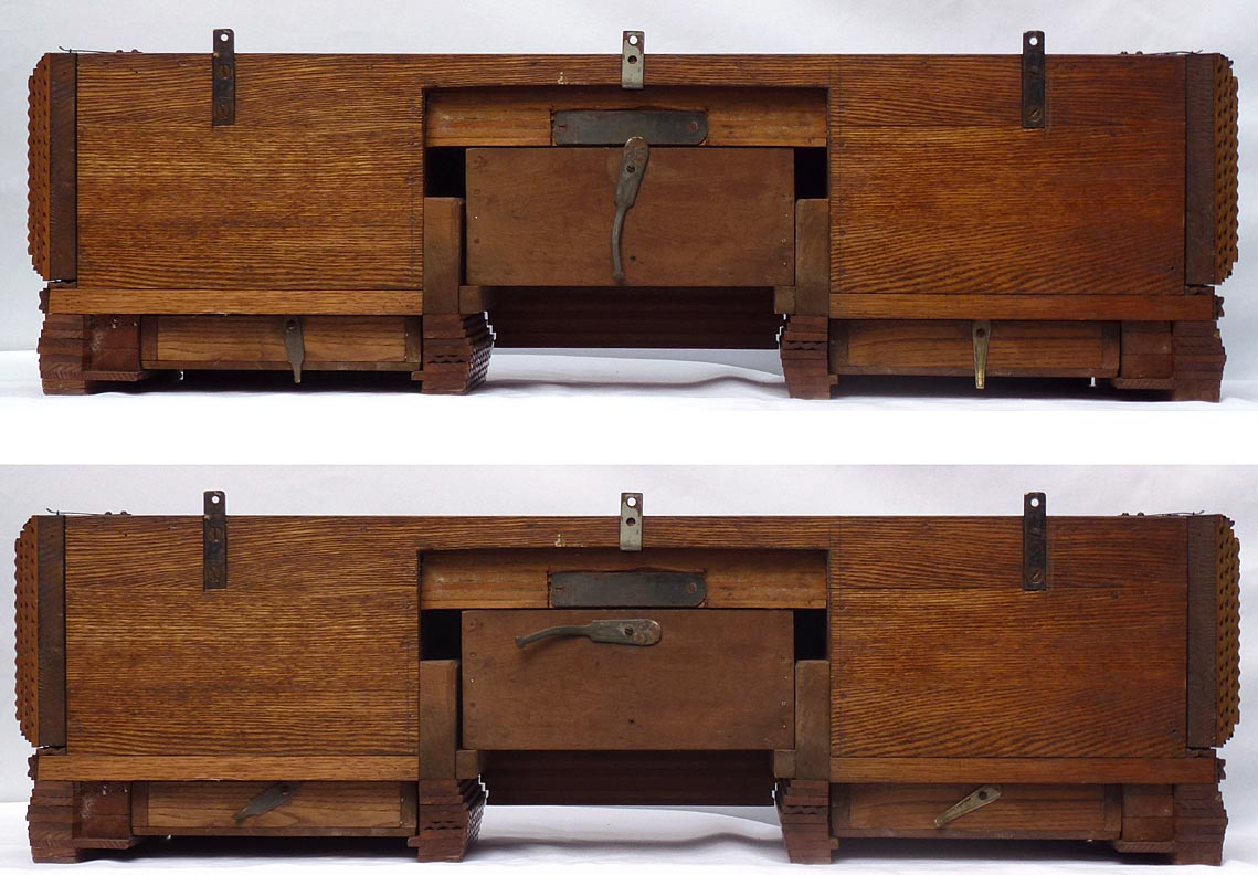 'Back views, showing latches locked and open' from the web at 'http://www.folkartisans.com/pages/../images13/ccco_back.jpg'