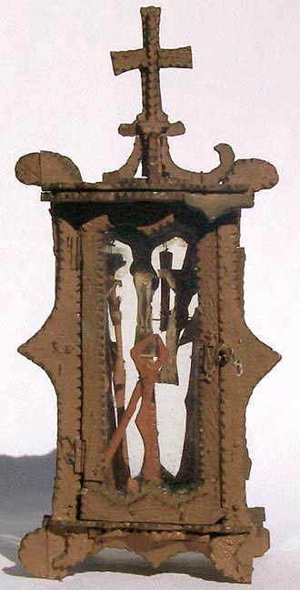 'Tramp art crucifix shrine' from the web at 'http://www.folkartisans.com/pages/../images7/akao_big.jpg'
